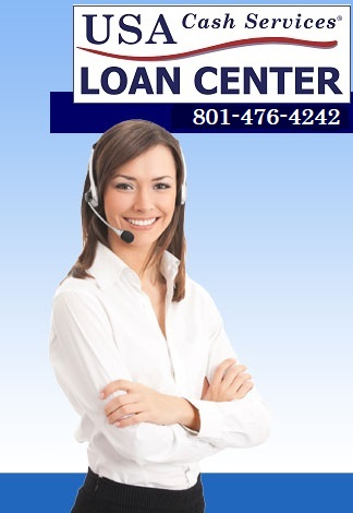 Smiling, professionally-dressed woman wearing phone headset. Contact USA Cash Services at 801-476-4242 for a payday loan.